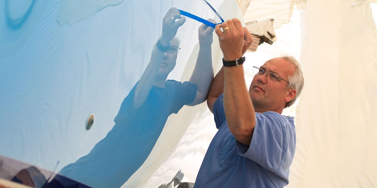 Steve Uhthoff Working on Hull Painting in Annapolis, Maryland