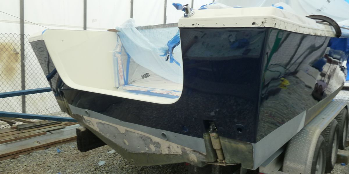boat hull fiberglass repair after photo