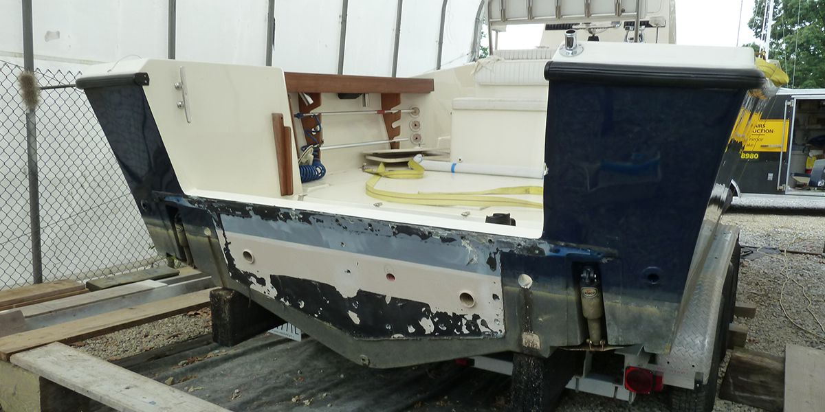 boat hull fiberglass repair before photo